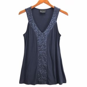 Cynthia Rowley Womans Sequin Stretch Blouse Top